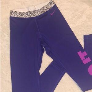 Purple Nike Pro Workout Pant.